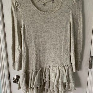 Anthropologie Knitted & Knotted Ruffle Hem Sweater